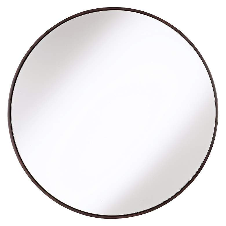 """Cooper Classics Round Wood Trimmed 34"""" Round Wall Mirror"""