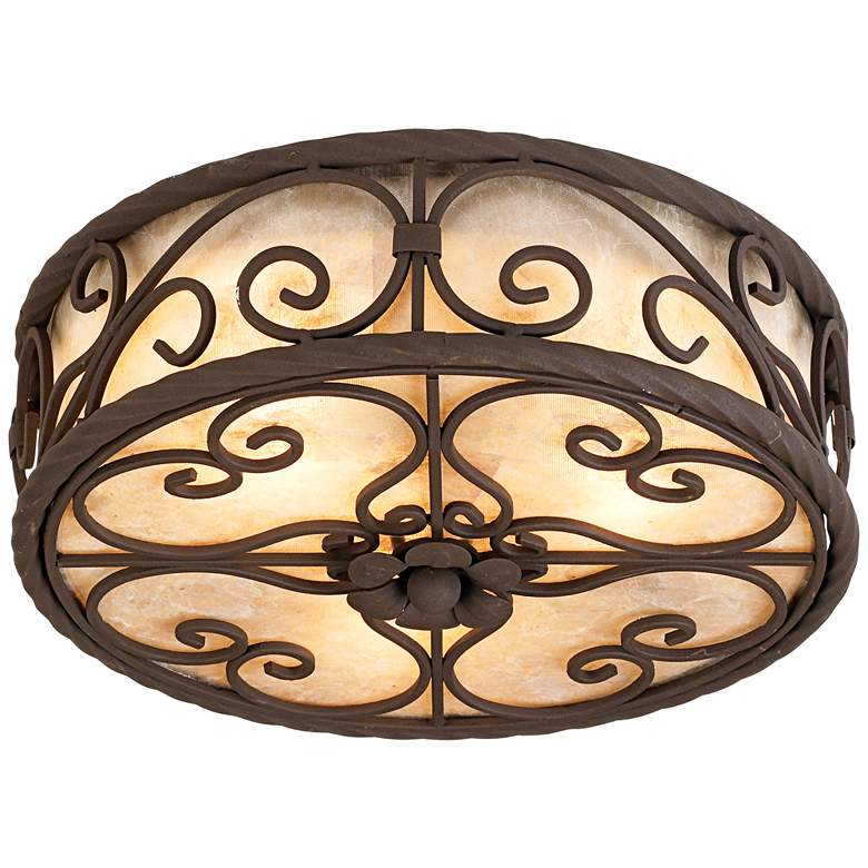 """Natural Mica Collection 12"""" Wide Ceiling Light Fixture"""