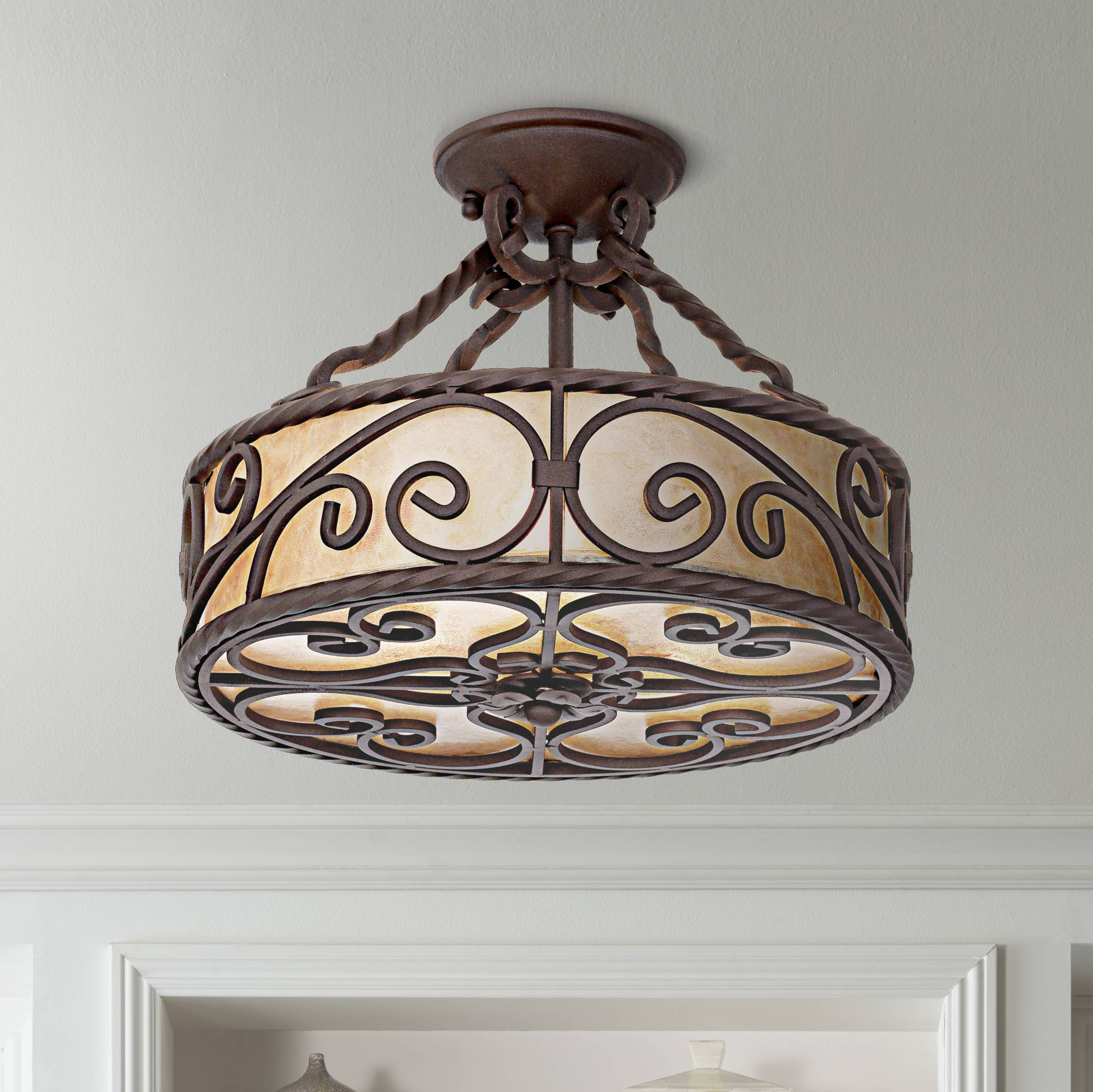 Details About Rustic Ceiling Light Fixture Semi Flush Mount Scroll 15 Wide Bedroom Kitchen