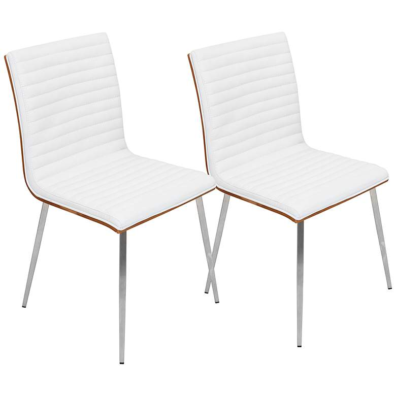 Mason Off-White Faux Leather Swivel Dining Chairs Set of 2