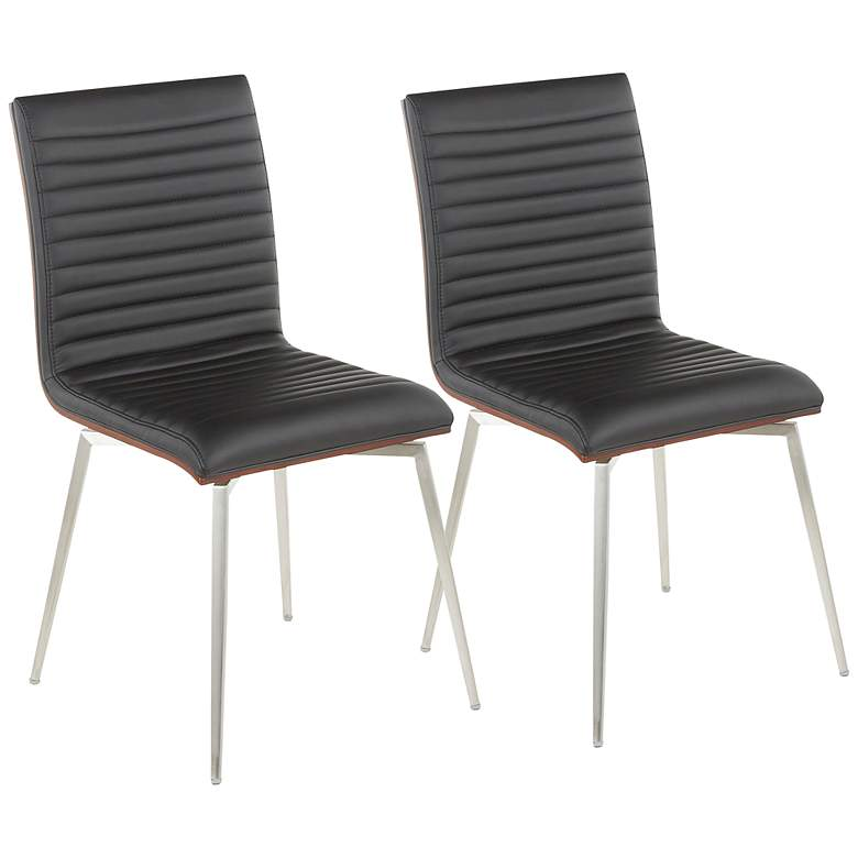 Mason Tufted Black Modern Swivel Dining Chairs Set of 2