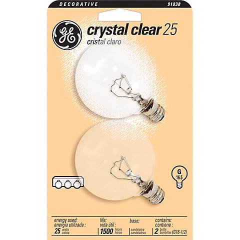 GE 25 Watt  2-Pack Clear Candelabra Light Bulbs