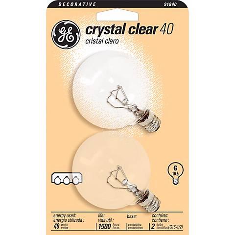 GE 40 Watt 2-Pack Clear Glass Globe Light Bulbs