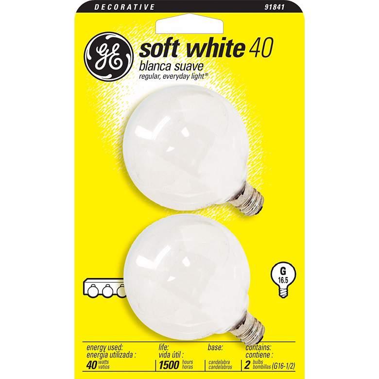 GE 2-pack G16-1/2 Candelabra Base 40 Watt Light
