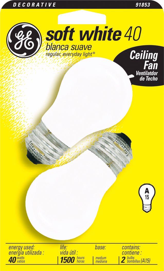 GE 40 Watt White 2 Pack Ceiling Fan Bulbs