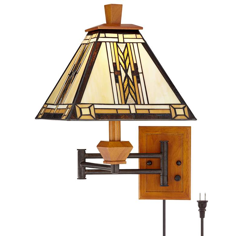 Walnut Mission Tiffany Collection Plug-In Swing Arm Wall Lamp