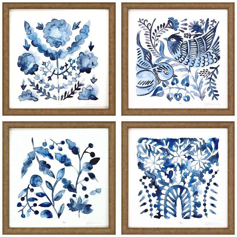 """Indigo Ornament I 13"""" Square 4-Piece Giclee Wall Art Set"""