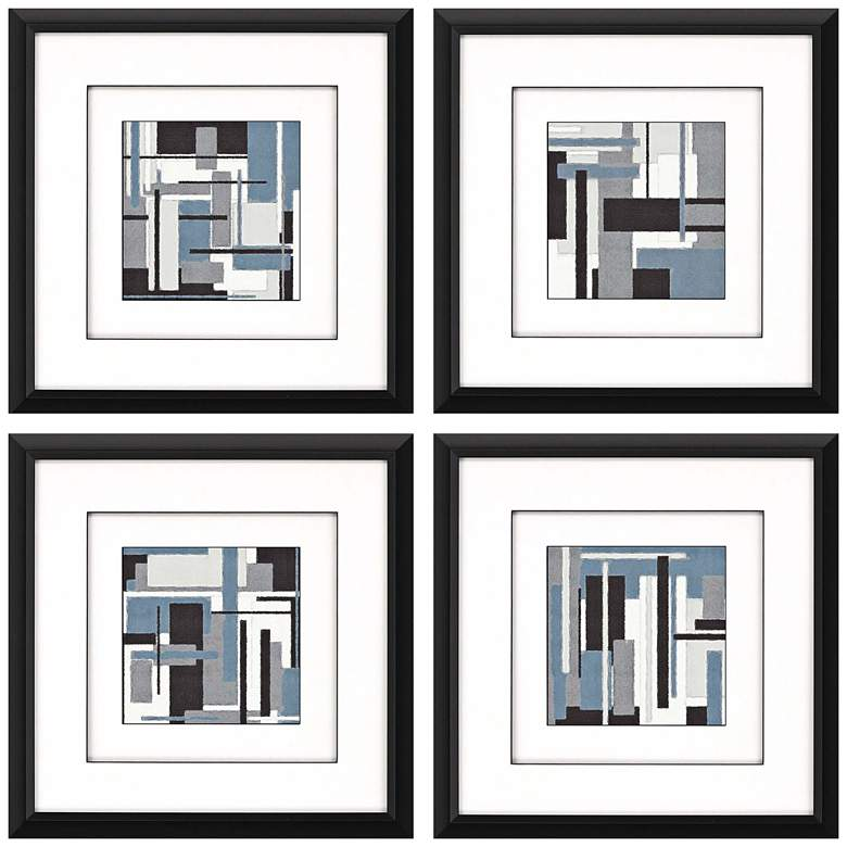 """Collide 18"""" Square 4-Piece Framed Giclee Wall Art Set"""