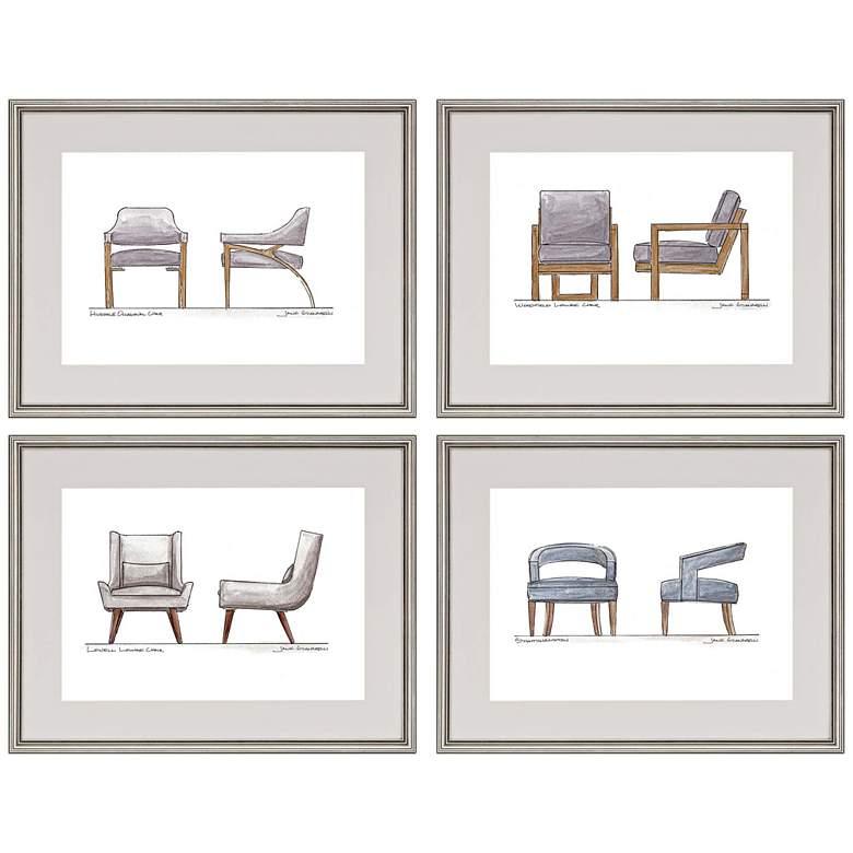"Take a Seat 27"" Wide 4-Piece Framed Giclee Wall Art Set"