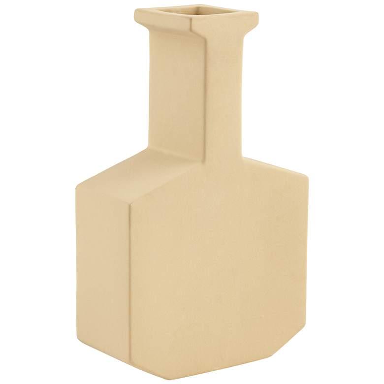 "Tan Apricot 8 1/2"" High Square Bottom Modern Vase"