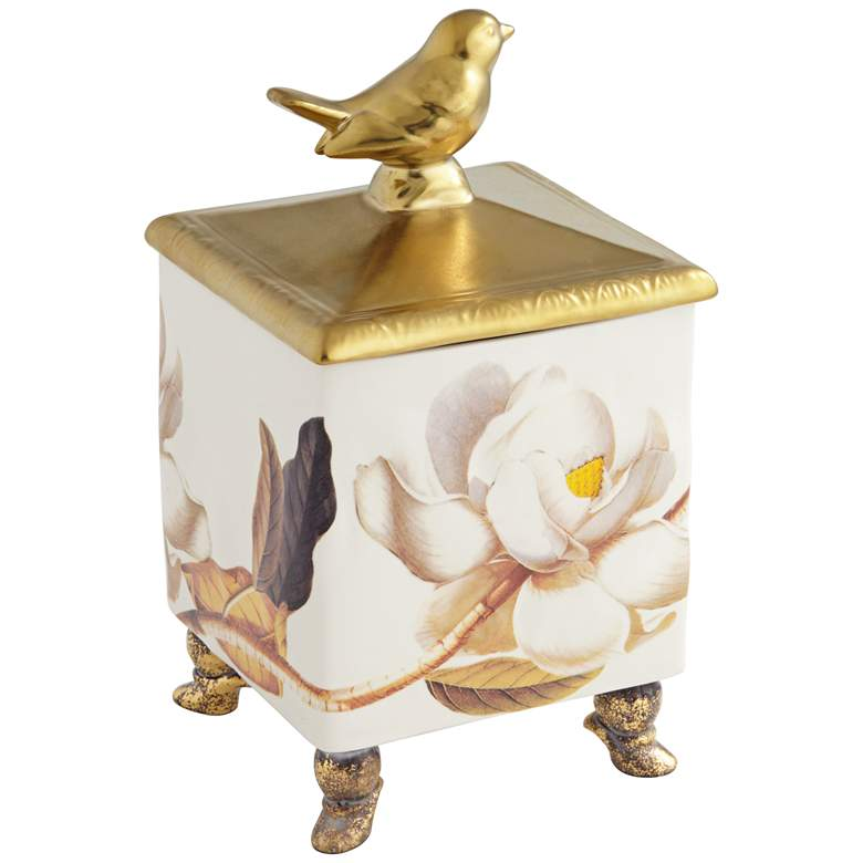 """Gold and White 8"""" High Dolomite Painted Song Bird Box"""