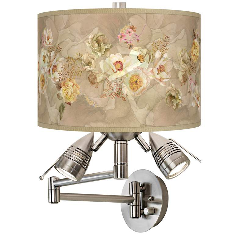 Floral Spray Giclee Plug-In Swing Arm Wall Lamp