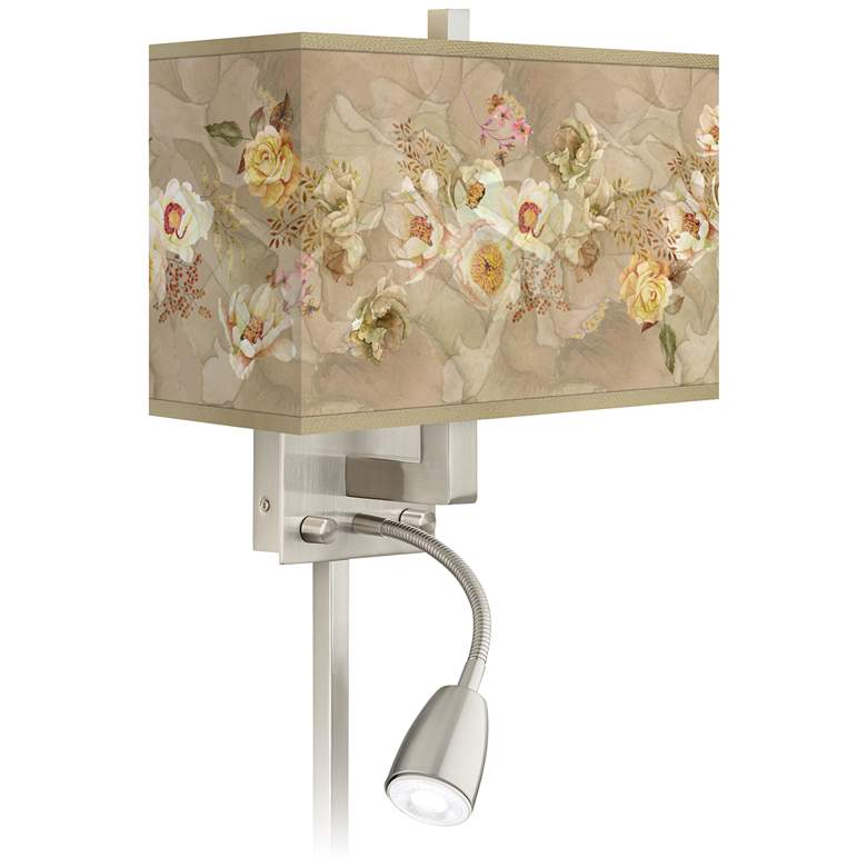 Floral Spray Giclee Glow LED Reading Light Plug-In Sconce