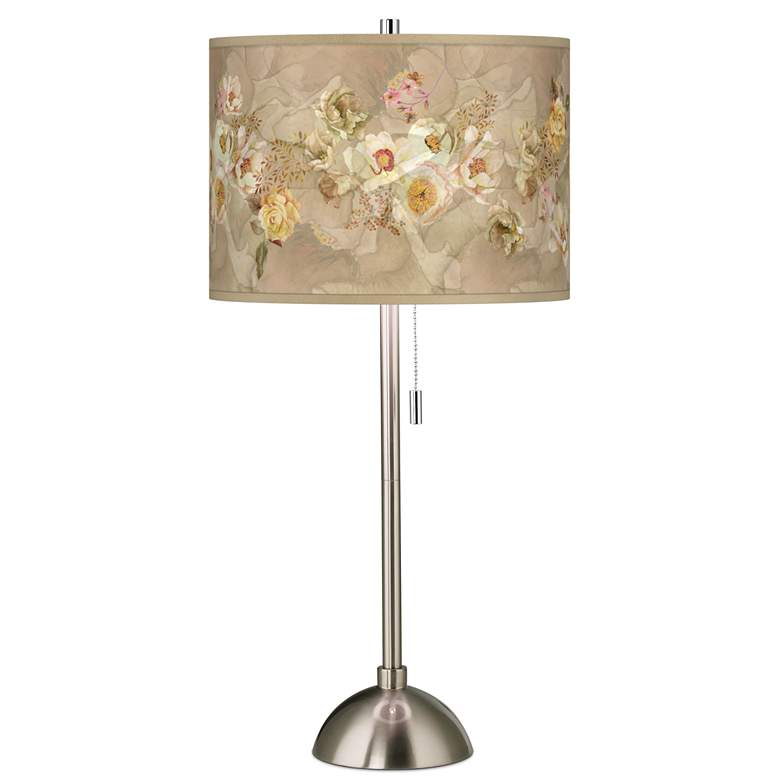 Floral Spray Giclee Brushed Nickel Table Lamp