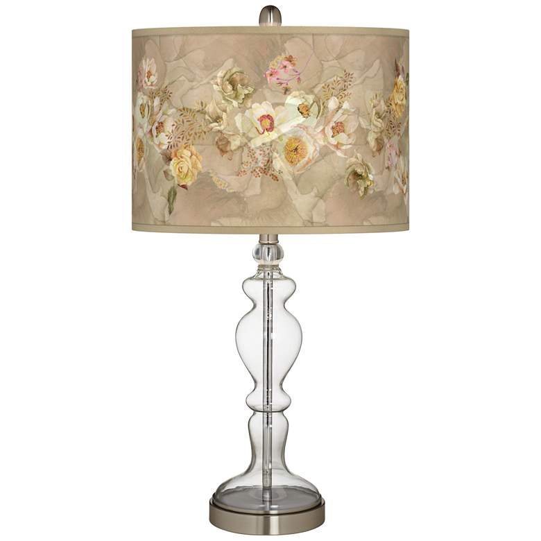 Floral Spray Giclee Apothecary Clear Glass Table Lamp