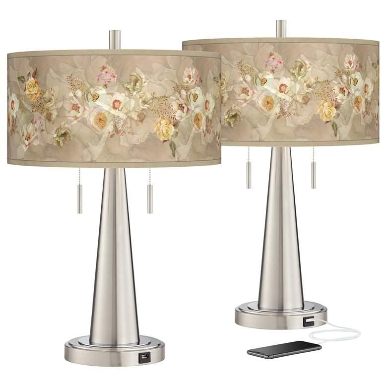 Floral Spray Vicki Brushed Nickel USB Table Lamps Set of 2