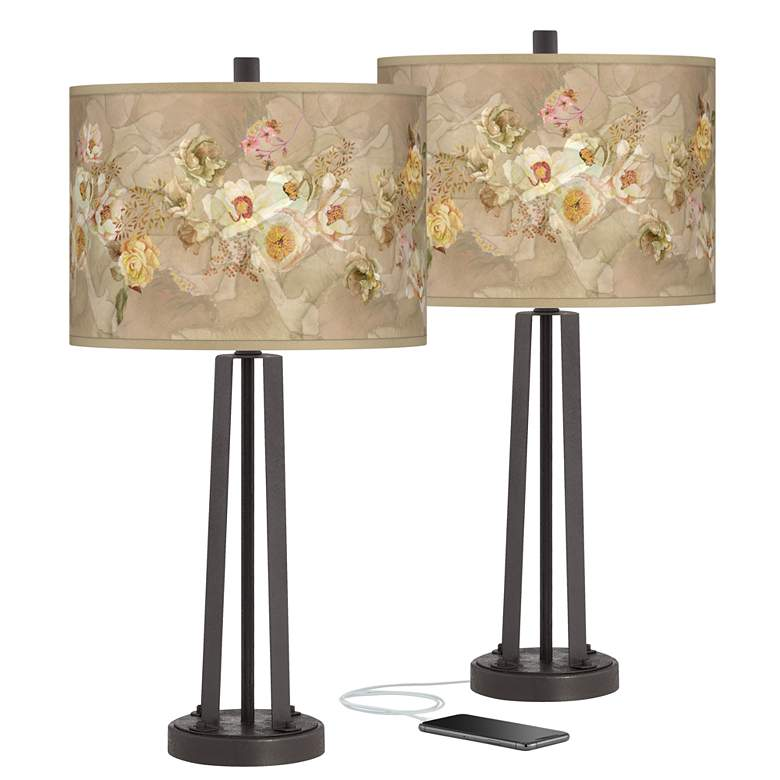 Floral Spray Susan Dark Bronze USB Table Lamps Set of 2
