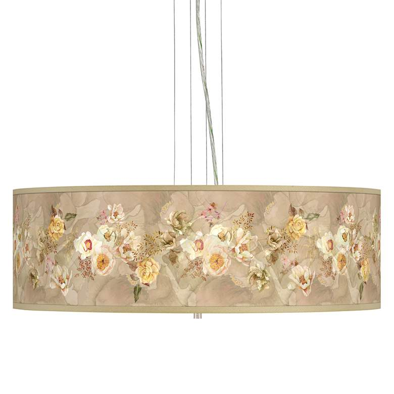 """Floral Spray Giclee 24"""" Wide 4-Light Pendant Chandelier"""