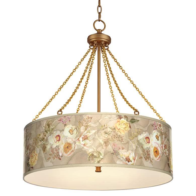 Floral Spray Dana Antique Brass Pendant Light