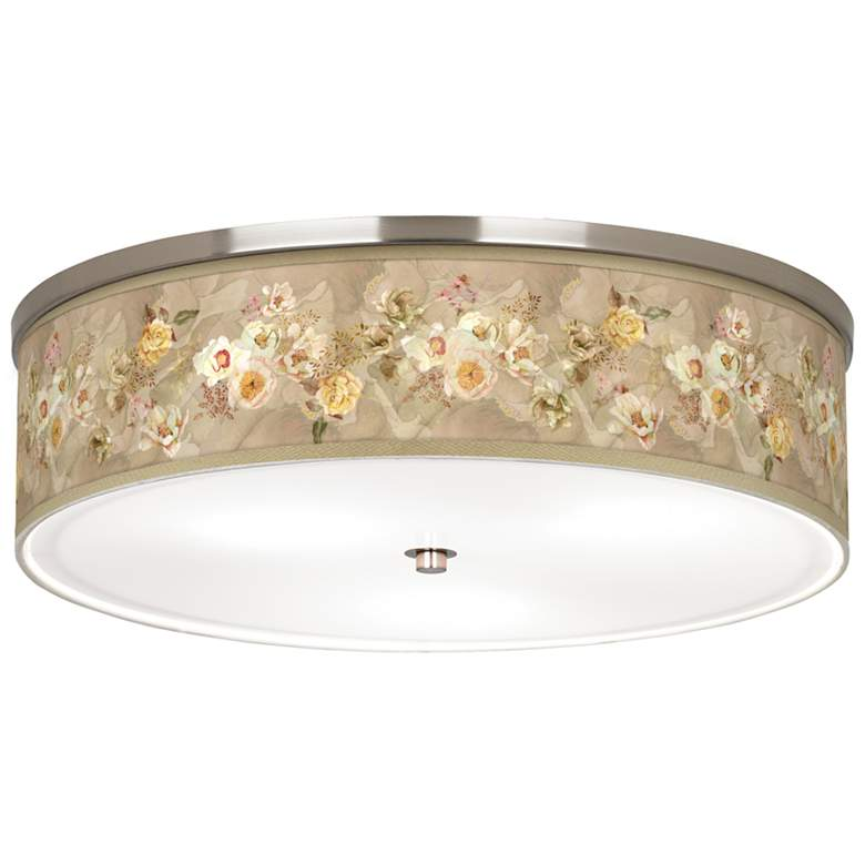 "Floral Spray Giclee Nickel 20 1/4"" Wide Ceiling Light"
