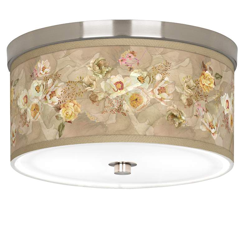 "Floral Spray Giclee Nickel 10 1/4"" Wide Ceiling Light"