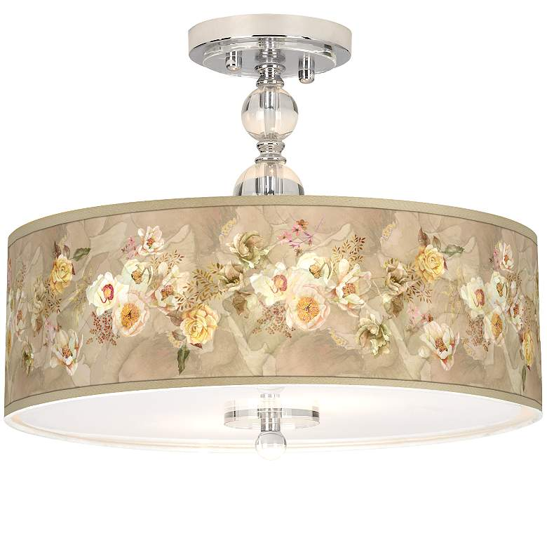 "Floral Spray Giclee 16"" Wide Semi-Flush Ceiling Light"