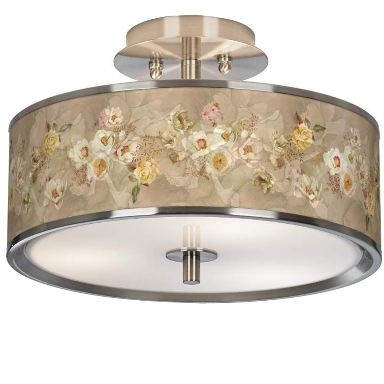 """Floral Spray Giclee Glow 14"""" Wide Ceiling Light"""