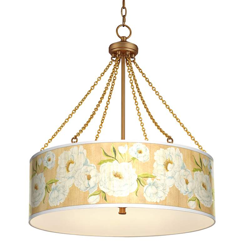 White Peonies Dana Antique Brass Pendant Light