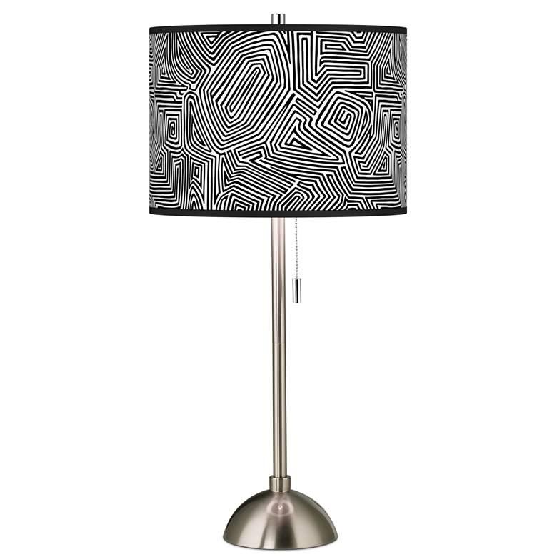 Geometric Maze Giclee Brushed Nickel Table Lamp