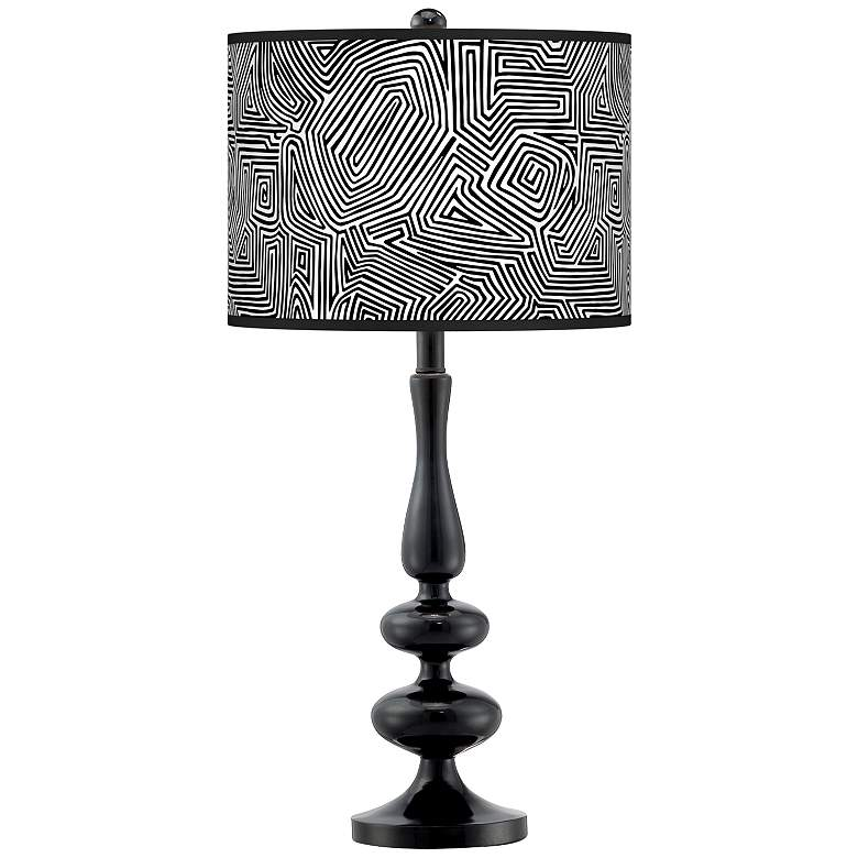 Geometric Maze Giclee Paley Black Table Lamp