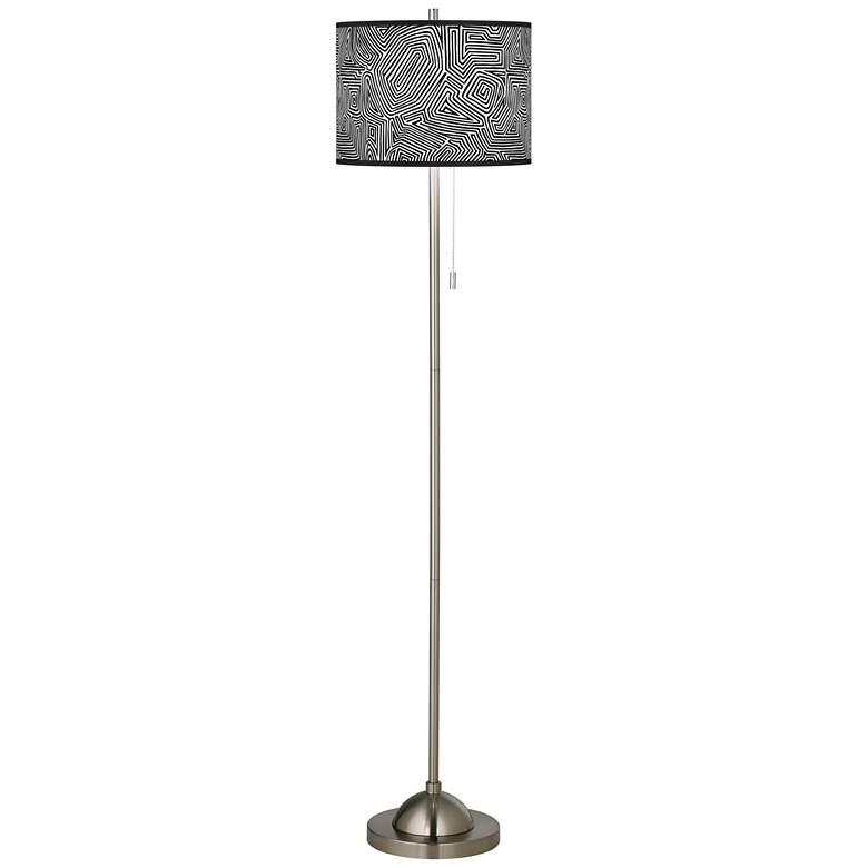 Geometric Maze Brushed Nickel Pull Chain Floor Lamp