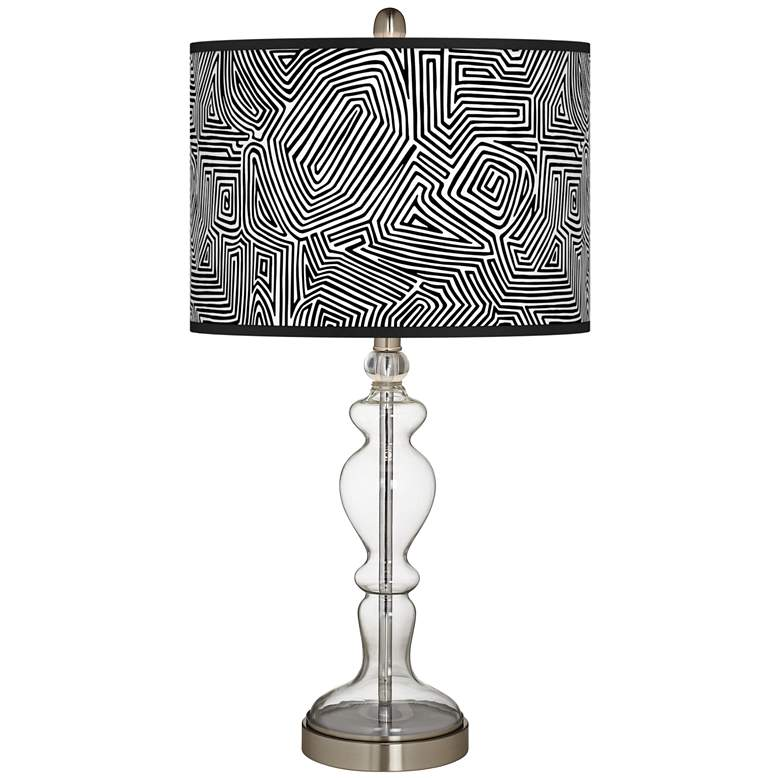 Geometric Maze Giclee Apothecary Clear Glass Table Lamp