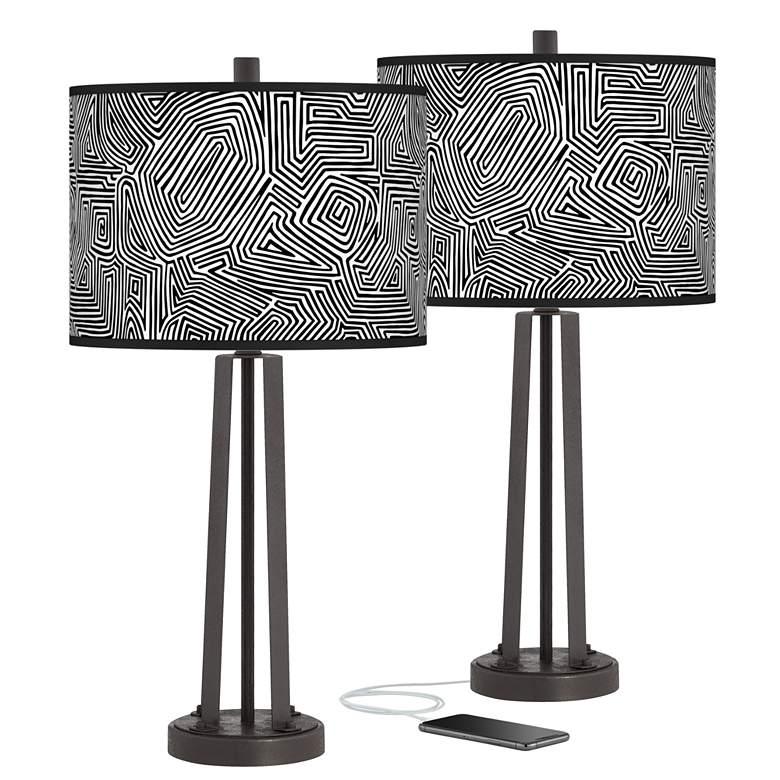 Geometric Maze Susan Dark Bronze USB Table Lamps Set of 2