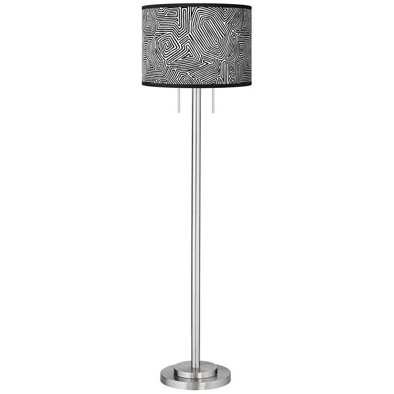Geometric Maze Giclee Brushed Nickel Garth Floor Lamp