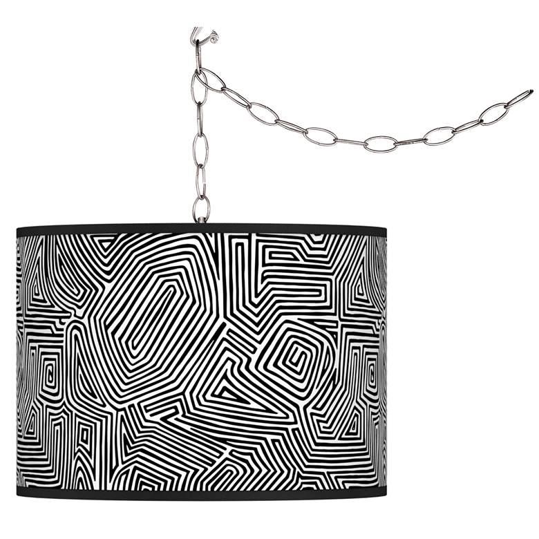 Swag Style Geometric Maze Giclee Shade Plug-In Chandelier
