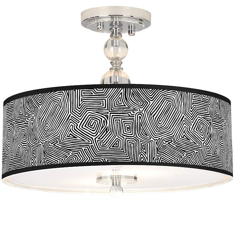 "Geometric Maze Giclee 16"" Wide Semi-Flush Ceiling Light"