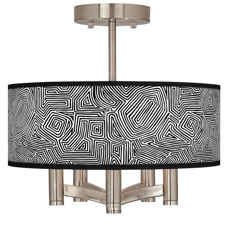 Geometric Maze Ava 5-Light Nickel Ceiling Light