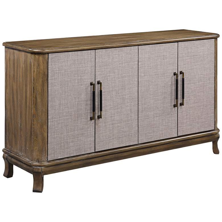 "Bradenton 60"" Wide Brown 4-Door Wood Media Credenza"