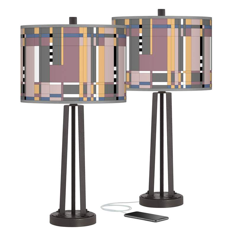Simplicity Susan Dark Bronze USB Table Lamps Set of 2