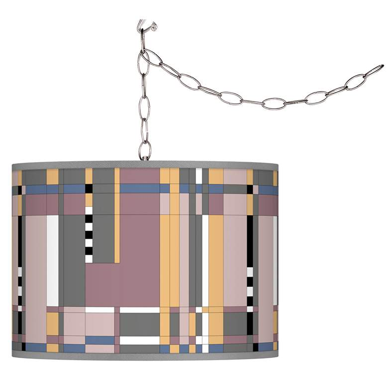 Swag Style Simplicity Giclee Shade Plug-In Chandelier