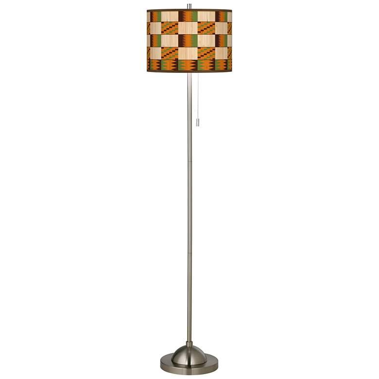 Modern Drift Brushed Nickel Pull Chain Floor Lamp