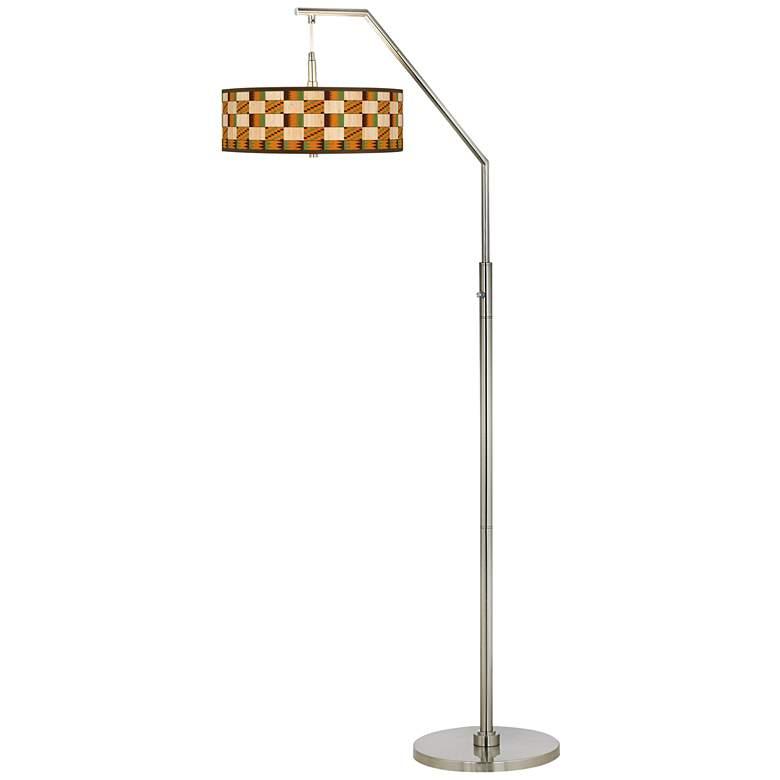 Modern Drift Giclee Shade Arc Floor Lamp