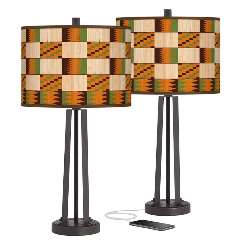 Modern Drift Susan Dark Bronze USB Table Lamps Set of 2