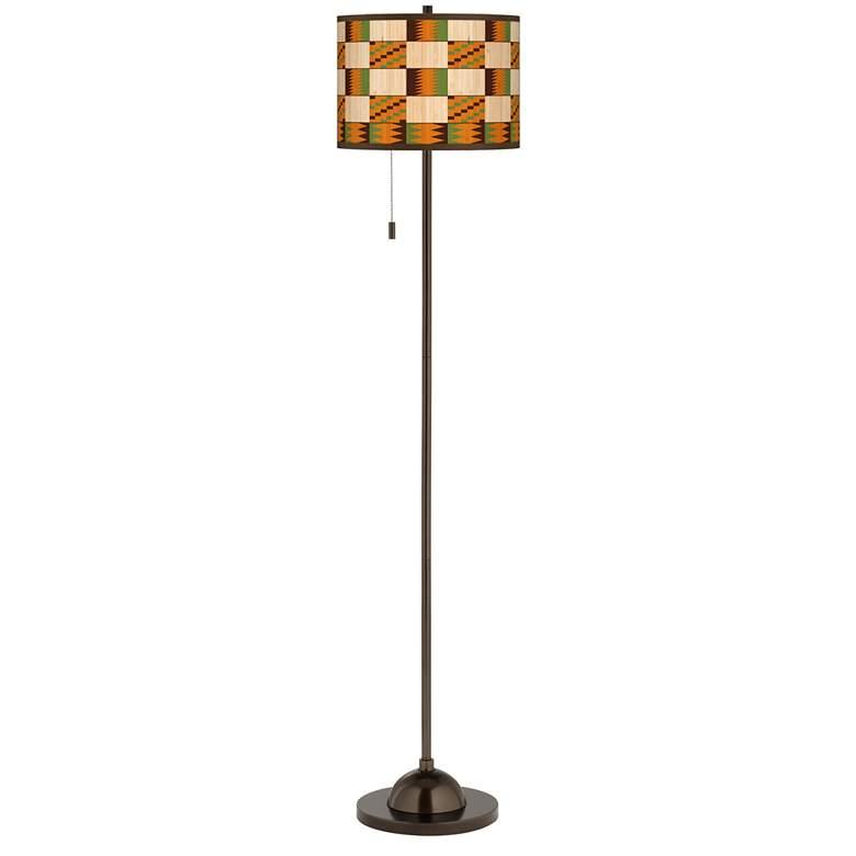 Modern Drift Giclee Glow Bronze Club Floor Lamp