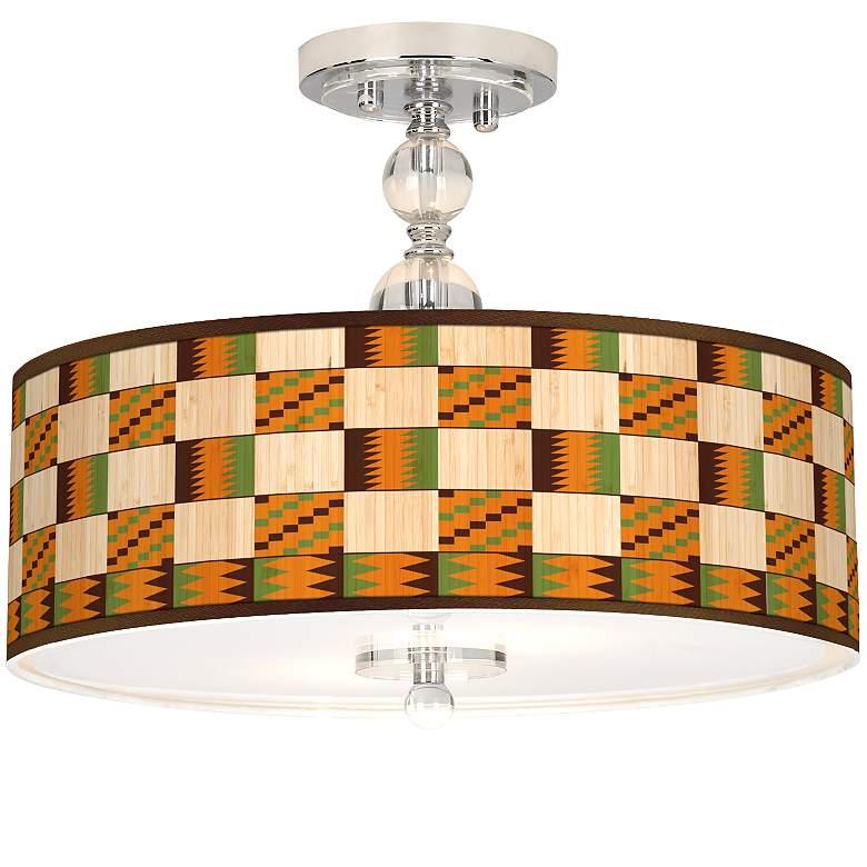 """Modern Drift Giclee 16"""" Wide Semi-Flush Ceiling Light"""