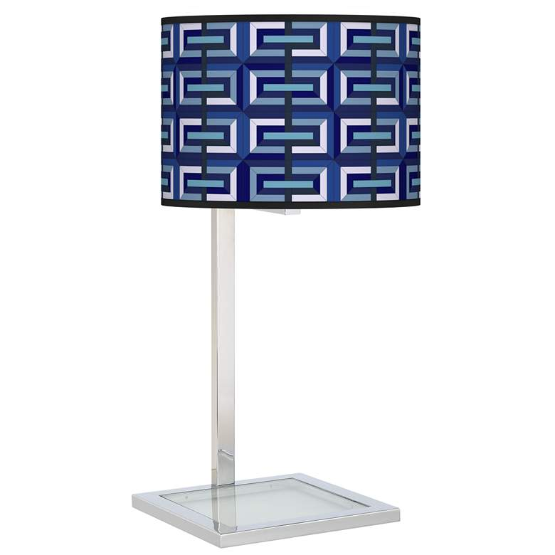 Parquet Glass Inset Table Lamp