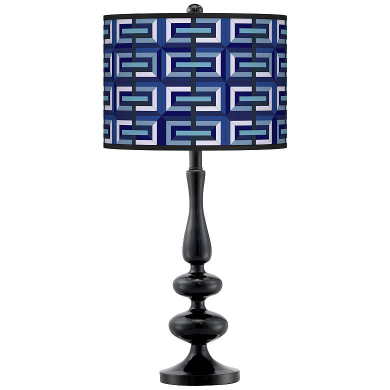 Parquet Giclee Paley Black Table Lamp