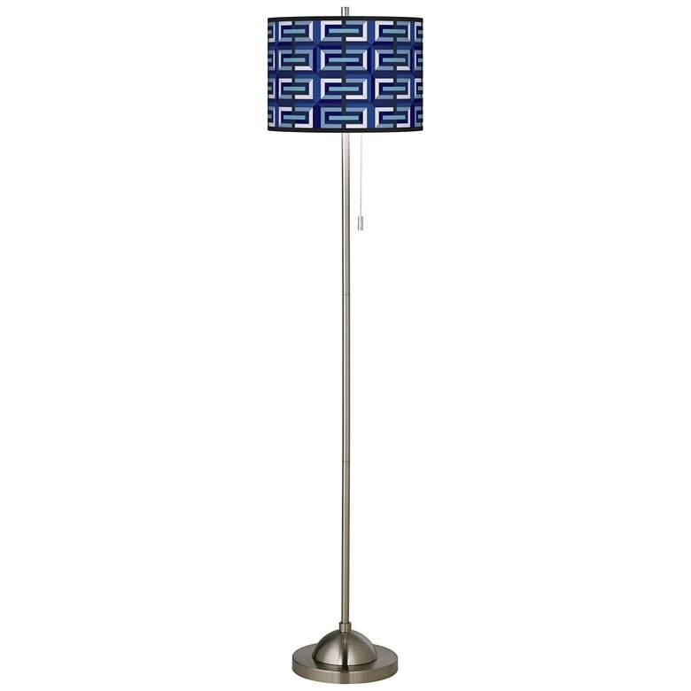Parquet Brushed Nickel Pull Chain Floor Lamp