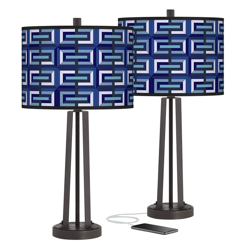 Parquet Susan Dark Bronze USB Table Lamps Set of 2