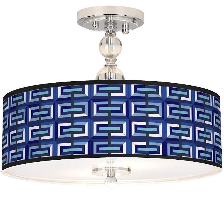 "Parquet Giclee 16"" Wide Semi-Flush Ceiling Light"